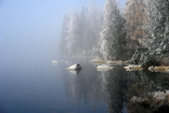 Fogs on the  Pleso. Royalty Free Stock Photo