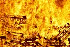 Fogueira ardente do fogo, luta contra o incêndio Ignição da chama aviso fotos de stock royalty free