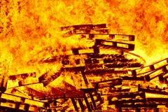 Fogueira 2 bonfire Luta contra o incêndio e ignição da chama imagens de stock