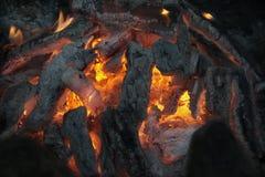 Fogueira com chama e cinza Fotos de Stock Royalty Free