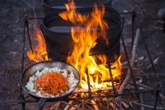 fogueira na viagem de acampamento Imagem de Stock