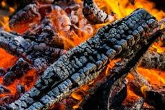 A fogueira próxima acima dos logs ardentes cercou minhas rochas Foto de Stock Royalty Free