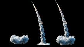Foguete balístico nuclear, complexo Foguete do lançamento, isolado da poeira Animação 4K realística ilustração do vetor