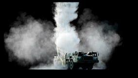 Foguete balístico nuclear, complexo Foguete do lançamento, isolado da poeira Animação 4K realística ilustração stock