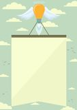 Foguete da lâmpada com as asas que levantam o cartaz no céu Imagem de Stock