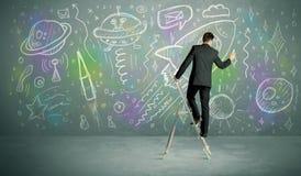 Foguete novo do desenho do homem de negócios Imagem de Stock