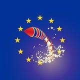 Foguete Reino Unido de Brexit e de união do Euro bandeiras, chovendo estrelas Foto de Stock