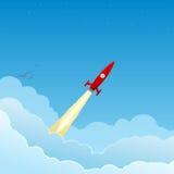 Foguete vermelho que voa às estrelas ilustração stock