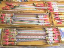 Foguetes dos fogos-de-artifício Fotografia de Stock