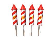 Foguetes dos fogos-de-artifício do ano novo. Isolado no branco Fotografia de Stock