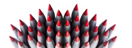 Foguetes dos mísseis, isolados no fundo branco Fotos de Stock Royalty Free