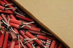 Foguetes vermelhos feitos à mão imagens de stock