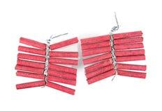 Foguetes vermelhos isolados no fundo branco firecrackers foto de stock royalty free