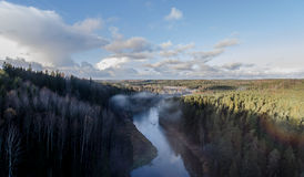 Fogy ανατολή στη Λετονία Στοκ Εικόνα