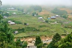 Fogy-Landschaft von Ricefields in Laochai-sapa valey in Vietnam Sapa, Vietnam - 22 mai 2019 stockfotografie