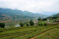 Fogy-Landschaft von Ricefields in Laochai-sapa valey in Vietnam Sapa, Vietnam - 22 mai 2019 lizenzfreies stockfoto