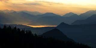 Fogy morning in the mountains Stock Photography