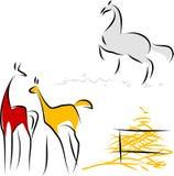 Fohlen und Rennpferd Stockfotografie
