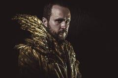 Foi, barbe d'homme et costume faits avec les ailes d'or Photo libre de droits