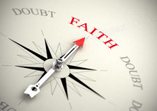 Foi contre le concept de doute, de religion ou de confiance Photographie stock libre de droits