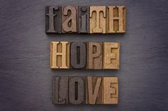 Foi, espoir, amour défini dans le type ensemble Photos stock