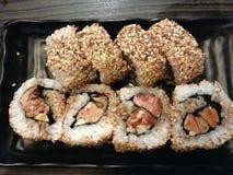 Foie迫使梅基寿司,日本和法国融合食物,日本 图库摄影