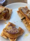 foie d'oie de rôti sur un pain photographie stock libre de droits