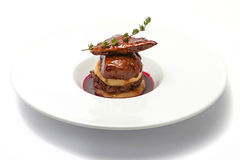 Foie de canard avec de la sauce à baie Images stock