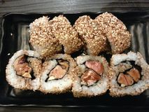 Foie gars еда сплавливание суш, японца и француза Maki, Япония Стоковая Фотография