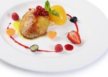 Foie Gras με τη φρυγανιά και το βερίκοκο Στοκ Εικόνες