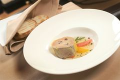 Foie gras. French healthy food served with bred Stock Image