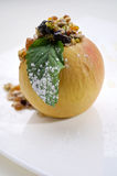 Foie gras with apple. Served on white plate Stock Image