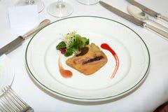 Foie Gras auf Gaststätteplatte Lizenzfreies Stockbild