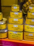 Foie-Gras bij shopwindow in sarlat-La-Caneda Foiegras is een beroemd product van stock foto's