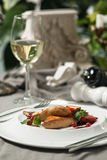 Foie Gras with cranberry sauce and wine. Delicatessen Foie Gras with cranberry sauce and wine restaurant supply Stock Photography