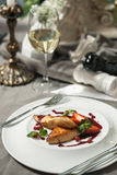 Foie Gras with cranberry sauce and wine Royalty Free Stock Photos