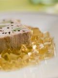 Foie Gras e porri del bambino con la gelatina della sauterne Fotografie Stock Libere da Diritti