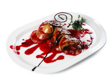Foie gras with fruit sauce Stock Photography