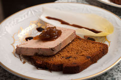 Foie gras with gingerbread Stock Images