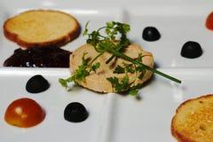 Foie gras i en restaurang fotografering för bildbyråer