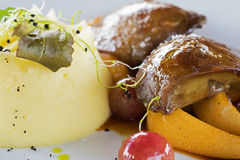 Foie Gras with Mashed Potatoes. And Fruits Stock Photos