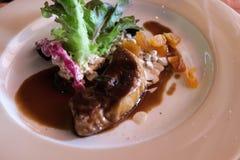 Foie gras med sås arkivfoto
