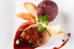 Foie gras med sås royaltyfria bilder