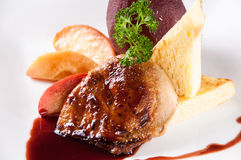 Foie gras med sås arkivfoton