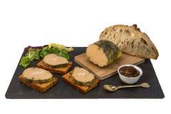 Foie gras och pepparkakakaka arkivfoto