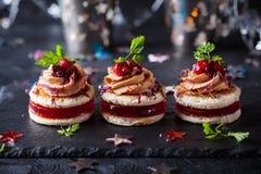 Foie gras och tranbärchutney royaltyfri fotografi