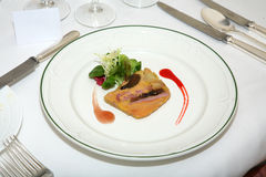 Foie Gras on Restaurant plate Royalty Free Stock Image