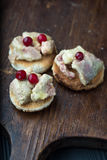 Foie gras on sandwiches and red Cranberries. Royalty Free Stock Photography