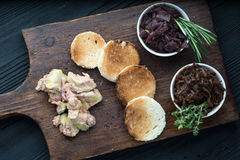 Foie gras on sandwiches and red onion marmalade Royalty Free Stock Photography