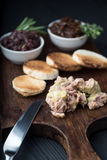 Foie gras on sandwiches and red onion marmalade Royalty Free Stock Photo